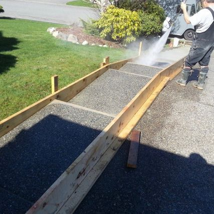 watering concrete path
